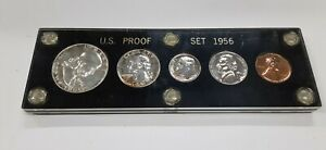 1956 United States Mint 5 Coin Proof Set in Black Acrylic Holder 90% Silver (C)