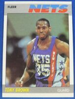 TONY BROWN signed autograph 1987-88 Fleer New Jersey Nets