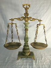 ANTIQUE ALABASTER & BRASS FLUTED PILLAR BALANCE BEAM SCALE MARBLE ? DECOR ART