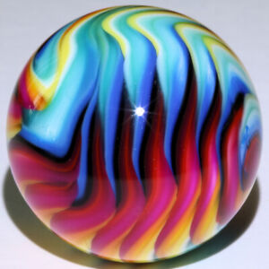 """15/16"""" RAINBOW FLAME contemporary handmade marble signed by Carl Fisher Marbles"""