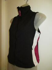 bebe Sport L Sleeveless Vest Jacket Logo Full Zip Black White Maroon Gym Yoga