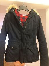 Hollister Women's Cotton Parka Coat with Faux Fur Hood, Navy Blue, Small