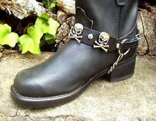 BIKER BOOTS BOOT CHAINS BLACK TOPGRAIN COWHIDE LEATHER W SKULL & CROSSBONES