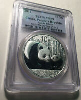 2011 China Panda 10 Yuan PCGS MS69 1 Oz. Silver Coin