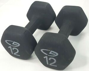 12lb Neoprene Hex Dumbbell Pair Total 24lbs Hand Weights Gym Free Fitness