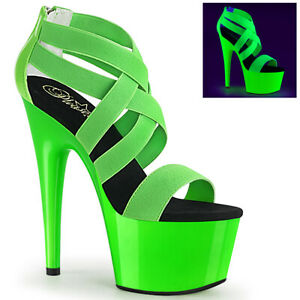 "Pleaser neon green 7"" strappy dancer shoes"