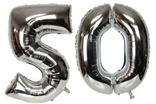 Large Number 50 Silver Balloons 50th Birthday Anniversary Foil Float Helium USA