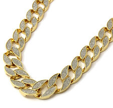 "Mens Gold Heavy 30"" Inch Stardust Hip hop 18mm Cuban Curb Link Chain Necklace"