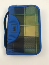 REI Zipper Travel Wallet Blue with Brown Plaid, Black and Green Interior