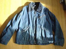 Vtg 40s 50s Denim Blanket Lined Chore Work Jacket Side Buckle Back Indigo