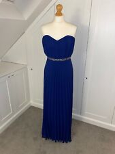 New ASOS (Size 14) Blue Long Maxi Occassion Strapless Dress With Sequins - Prom