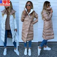Womens Ladies Bubble Quilted Padded Puffer Parka Coat Winter Long Overcoat US