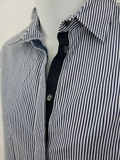 J.CREW $78 Navy Blue White Stripe Boy Button Up Shirt Solid Navy Placket Size 2