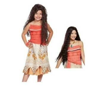 Girls Disney Moana Dress & Wig 2 Pc Halloween Costume-size 4/6