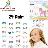 Cute Animals Hypoallergenic Stud Earrings Set Gift For Kids Little Girls 24 Pair