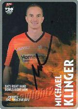 ✺Signed✺ 2014 2015 PERTH SCORCHERS Cricket Card MICHAEL KLINGER Big Bash League