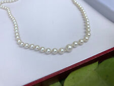 """Nice Vintage Mikimoto 20"""" Pearl Necklace SS Clasp Graduated 3.5mm-7mm"""