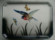 1920s Empire Ware Hand Painted Bird Butterfly Ceramic Vanity, Dresser Tray 29cm