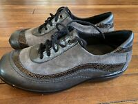 Womens ZIERA Jimi METALLIC Pewter Suede LEATHER Lace Up OXFORD 38 7.5 SNEAKERS