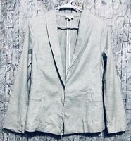 Crippen Unlined One Button Blazer Linen Gray Womens Size Small