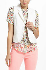 Anthropologie Butterfly Net Vest White Cotton Top By Electric Love Light SIZE 6