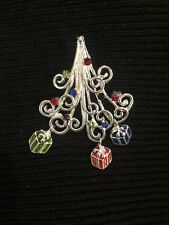 Whimsical Christmas Tree Brooch Pin & Pendant. Curly Branches & Dangling Gifts