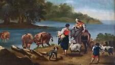 Superb 17th C Dutch School Oil Painting of Rural Scene in Antique Gilt Frame