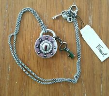 Fossil Large Lock w/Crystals and Key Pendant Necklace JA3937040 w/Add Charms NWT