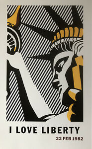 Roy Lichtenstein - I Love Liberty, New York 1982 Poster Pop Art B79
