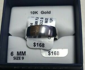 10k White Solid Gold Wedding Band Ring Size 9 Keepsake 6mm Wide New No Scrap