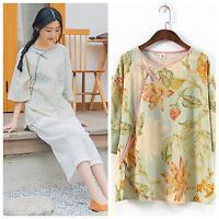 303-1042 Oriental Asian Traditional Fits 10 Beige Green Floral Cotton Linen Top