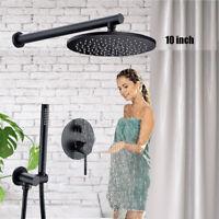 Schwarz 10'' Unterputz Duschsystem Duschset Regendusche Handbrause Duschsäule