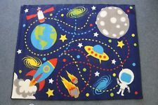 100x130cm Kids Planets Solar System Rockets Space Moon Mat Childrens RugBedroom