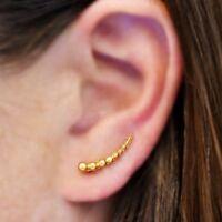 Simple Minimalist 24k Gold Plated Vermeil Granulation Ball Ear Climbers Earrings