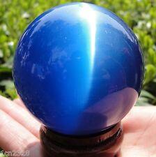 100MM+ Stand Asian Quartz Blue Cat Eye Crystal Ball Healing Spher