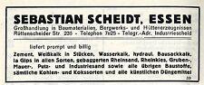 Sebastian Scheidt Essen Baumaterialien Großhandlung  Historische Reklame 1925