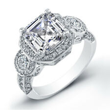 3.11 Ct. Asscher Cut Diamond 14Kg Engagement Ring