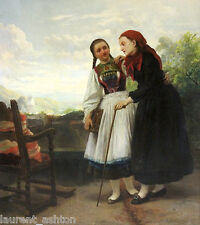CARL WILHELM HUBNER KARL OIL PAINTING ON CANVAS TWO YOUNG WOMEN HEIDI AND CLARA