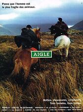 PUBLICITE ADVERTISING  1996   AIGLE   bottes chaussures vetements tous terrains