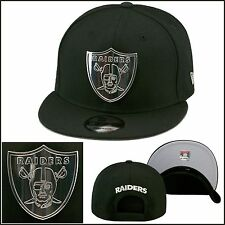 New Era Oakland Raiders Snapback Hat Cap All Black/SILVER METAL BADGE