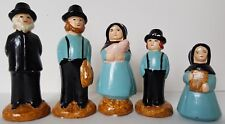Amish Ceramic Figurines, Family of Five, Vintage, Hand Painted