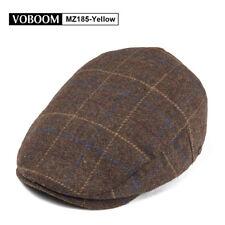 MENS WOOL BLEND IVY CAP TWEED HERRINGBONE NEWSBOY GATSBY FLAT WINTER WARM HAT 2