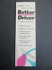 Vintage BOOKMARK ROSPA Road Safety Every Day You'll Be a Better Driver If 1960s