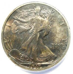 1917-S Walking Liberty Half Dollar 50C Coin Obverse Mintmark - ANACS VF30 Detail
