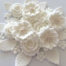 WHITE WEDDING ROSE BOUQUET Edible Sugar Paste Flowers Cake Decorations Toppers