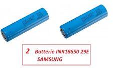 2 Batterie ricaricabili Litio SAMSUNG INR 18650 29E  2900 mAh 3,6V  8,25A