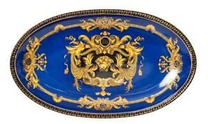 """Euro Porcelain 10"""" Blue Oval Fruit Serving Platter, Greek Key Medusa, 24K Gold"""