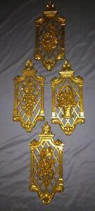 "Vintage Syroco 4 Seasons Hollywood Regency Ornate Gold Wall Plaques 13"" T x 6"" '"