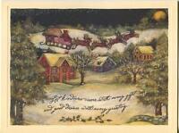 1 CHRISTMAS EVE NIGHT VILLAGE PINE TREE RED BLUE HOUSE CHURCH SNOW SANTA CARD