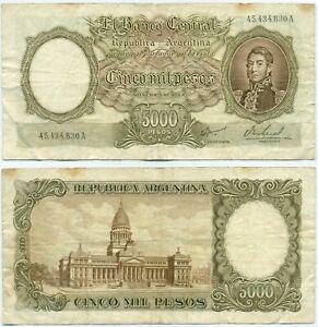 ARGENTINA NOTE 5000 PESOS (1967) IANNELLA-REAL B# 2181 SUFFIX A P 280b AVF